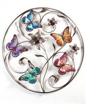 """25"""" Circular Iron Butterfly Desgin Wall Decor Piece"""