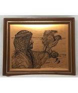 Vtg Geätztem Kupfer Tafel Mann mit Vogel Mittlere Östlich Coppercraft Wa... - $19.57