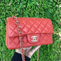 100% Auth Chanel RED Quilted Lambskin Large Mini 20CM Rectangular Flap Bag image 2