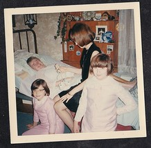Vintage Photograph Mom w/ Children Visiting Grandma Laying in Bed - Smal... - $6.93