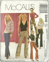 McCall's Sewing Pattern 3348 Misses Low Rise Pants Hip Huggers Size 4 6 ... - $9.99