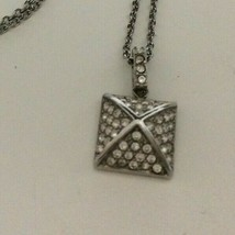 Michael Kors MK Silver Tone Rhinestone Pyramid Collar Necklace 16 Inch - $43.55