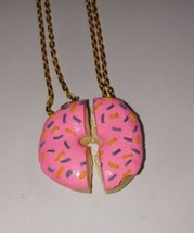 BFF Donut Necklaces Gold Tone Pink Frost Sprinkles Gift Kids - $8.50
