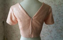 Gold BLUSH SEQUIN TOPS Short Sleeve Sequin Crop Tops Wedding Bridesmaid Top Plus image 6