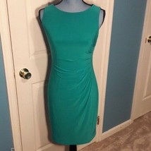 Anne Klein, Side Cinch, Pull Over Midi Dress, Blue Green, Size 2, Women's - $40.00