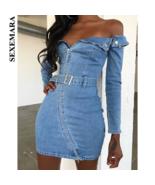 SEXEMARA Zipper Belt Sexy Denim Bodycon Dress Women High Street Fashion ... - $66.86