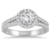 1 1/4Carat Diamond Split Shank Halo Wedding Ring 14k White Gold 925 Ster... - $153.92