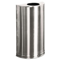 European & Metallic Open Top Receptacle, Half Round, 12gal, Satin Stainless - $753.65