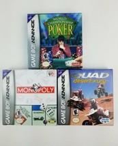 Lot 3 Game Boy Advance Games Complete w/ Boxes Quad Fury Monopoly Champi... - $28.76