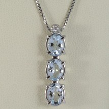 Necklace White Gold 750 - 18K, Trilogy Aquamarine Oval Carat 2.50 & Diamond - $782.53