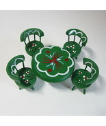 Vintage 1960-70's Green Wooden Folk Art Hand Painted Doll House Table & ... - $14.50