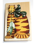 "CAT Fish Rubber Stamp Kitten Alma Lynne 4"" High Bow Striped Tabby Pets Kitty - $10.88"