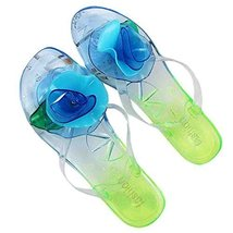 A Pair Flower Sandals Stuffies Beach Slipper Prevent Slippery Slipper(Blue)