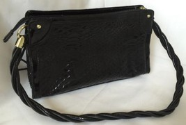 Handbag Purse Relic Black Faux Alligator Vegan Licorice Type Handle Gold... - $24.50