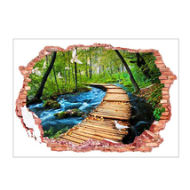 Removable Broken Wall 3D PVC Landscape Wall Stickers Woods The Path Rive... - $20.00
