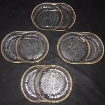 Vtg Set of 4 Jeannette Glass Harp Pressed Glass Ashtray/Coaster - $7.57