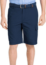 IZOD SALTWATER RELAXED CLASSIC FLAT FRONT NAVY BLUE CARGO SEAPORT POPLIN... - $19.99