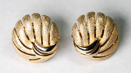 Trifari Clip On Earrings Round Brushed Gold Tone Signed - $8.00