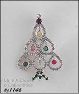 Eisenberg Ice Christmas Tree Pin Silver Tone Rhinestone Dangles (#J1146) - $50.00