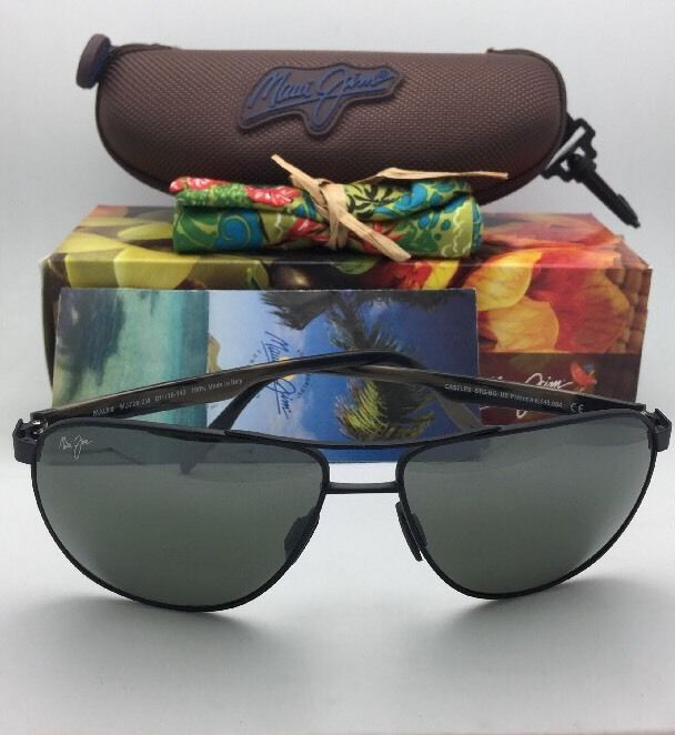 Polarized MAUI JIM Sunglasses CASTLES MJ 728-2M Matte Black Aviator Frame w/Grey