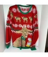 Jolly Sweater Mens Sz M Christmas Ugly Sweater Llama Beer Cheers Reindeer - $18.49