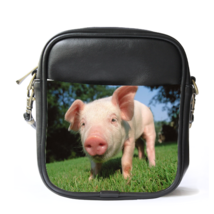 Sling Bag Leather Shoulder Bag Pig Cute Funny Animal Pig In Grass Nature Edition - $14.00