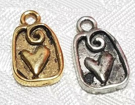 HEART AND SWIRL FINE PEWTER PENDANT CHARM  10mm L x 16mm W x 2mm D