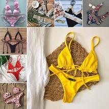 2019 Ruffle Bikini Set  Swimwear Women Bandage Swimsuit Yellow Bikinis M... - $13.20
