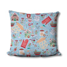 Christmas Pillow Cover - Christmas Baking Fabric - Holiday Home Decor - Gingerbr - $17.99