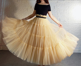 YELLOW Tiered Long Tulle Skirt Outfit High Waist Plus Size Princess Party Outfit image 2