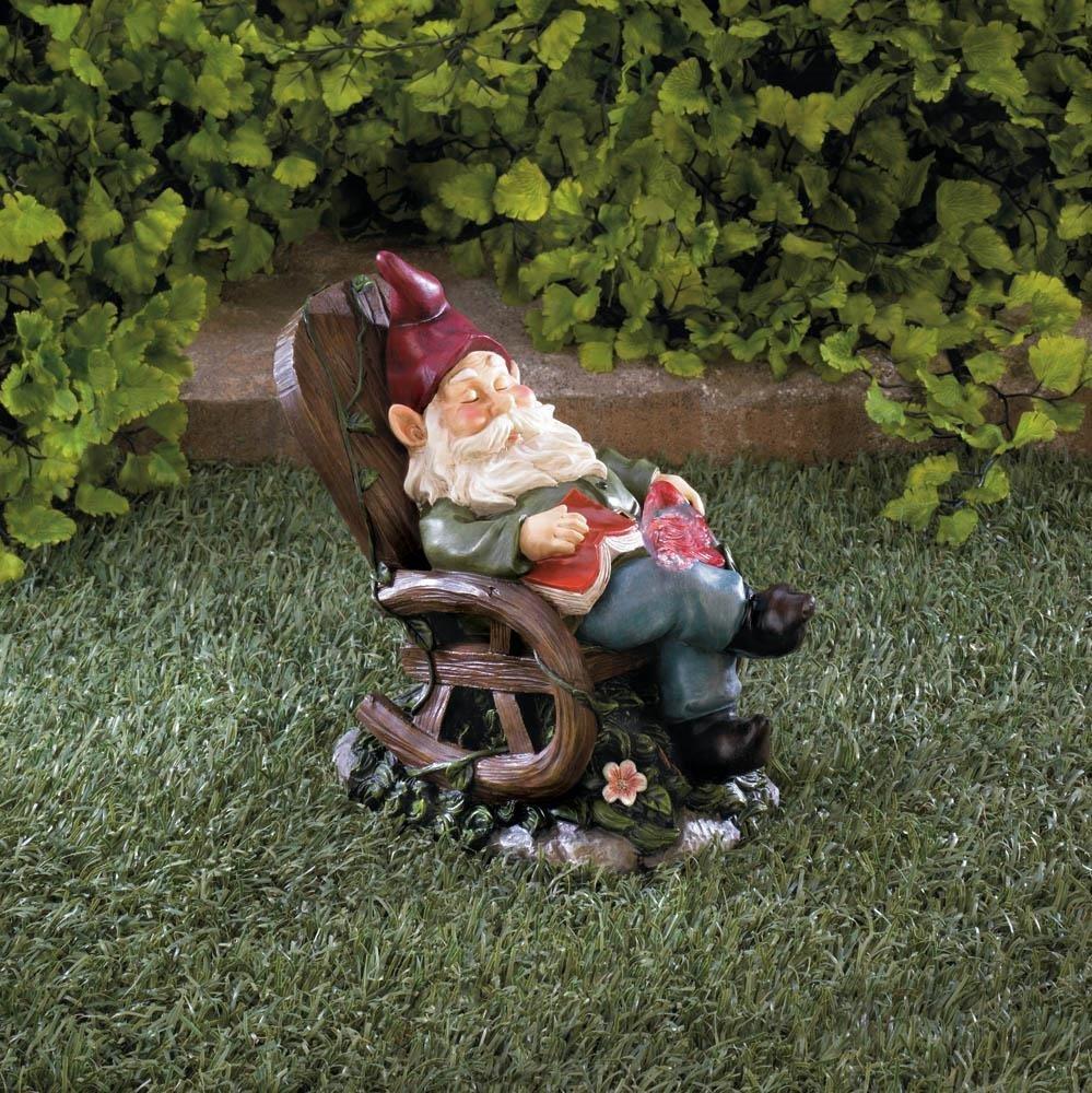 Outdoor Solar Garden Statues, Red Bird Rocking Chair Gnome Solar Yard Figurines