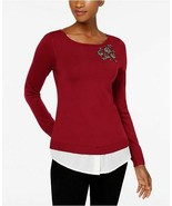 New $80 Charter Club Layered-Look Brooch Red Amore Sweater Size Medium - $33.85