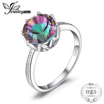 4.3 ct Rainbow Fire Mystic Topaz Round Ring Genuine 925 Sterling Silver - $19.16