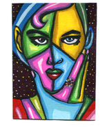 aceo art abstract original painting modern woman face miniature night st... - $7.99