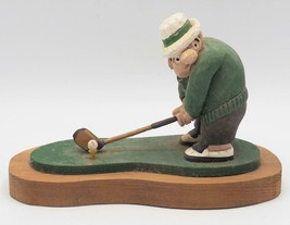 Vintage Hand Carved Golfer Wood Folk Art John Rodriguez - $78.27
