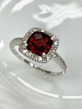 Ema Granat Ring mit Diamant in 14k Weiss Gold Größe 8 - $213.83