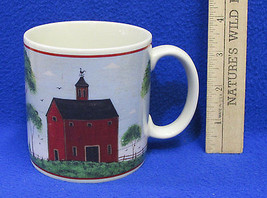 1998 Coffee Mug Cup Design by Warren Kimble Barns Tall Red Painting Farm Ceramic - $10.34