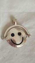 UNIQUE VINTAGE TWO FACE SMILEY FLIP TOPSY TURVY PENDANT, ENAMELED, RUSTIC, - $4.94