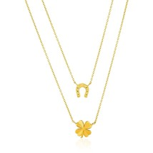 14k Yellow Gold Double-Strand Chain Necklace with Four-Leaf Clover and Horseshoe - $328.23