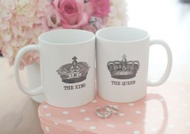 His and Hers Matching Coffee Mug Cup Set - The King and Queen Crown (MC026) - $24.99