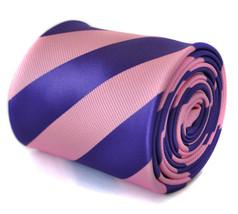 Pink & Purple Barber Stripe Mens Tie by Frederick Thomas FT2068 RRP£19.99