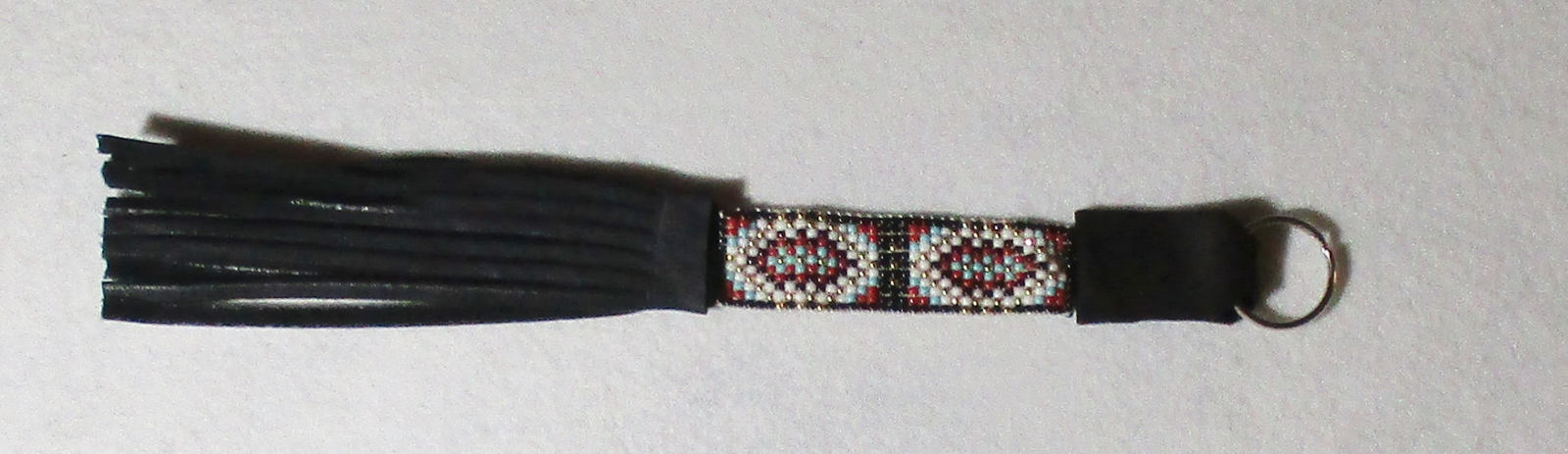American Made! No.2 Red Black Turquoise White Gold Glass Bead Keychain with frin