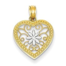 14K GOLD TWO-TONE OPEN FILIGREE HEART WITH FLOW... - $80.16