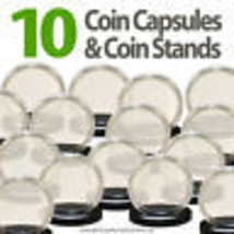 10 Coin Capsules & 10 Coin Stands for NICKEL Direct Fit Airtight 21m... - $9.85