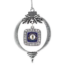 Inspired Silver Kentucky Flag Classic Holiday Christmas Tree Ornament With Cryst - $14.69