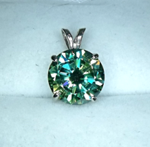 Awesome 3ct Turquoise Moissanite/Sterling Silver Pendant from KT Elegant Jewelry - $129.95