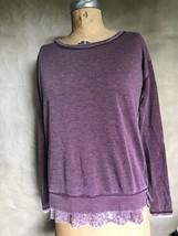 Aeropostale Distressed Oversized Sweatshirt Womens Top Wine XS Cotton-Bl... - $19.24