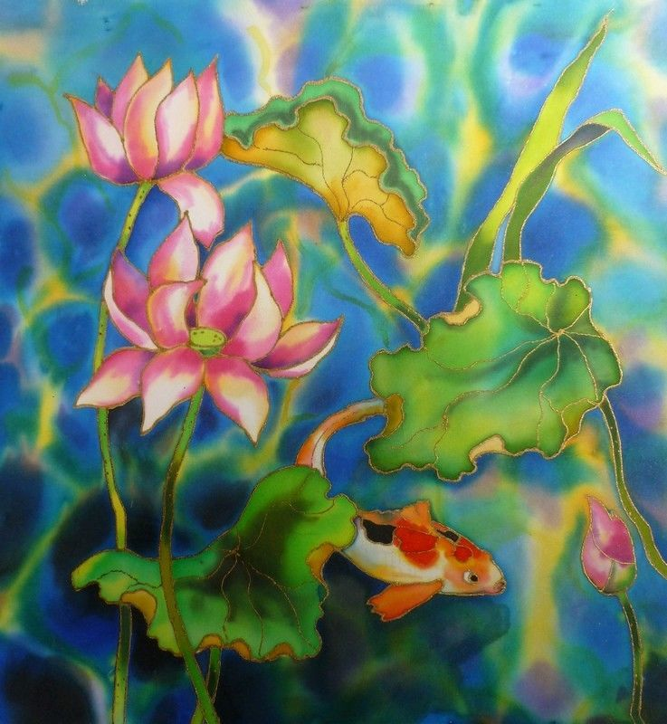 LOTUSES AND FISH: Original fabric painting by Akimova, flower, fish, pond