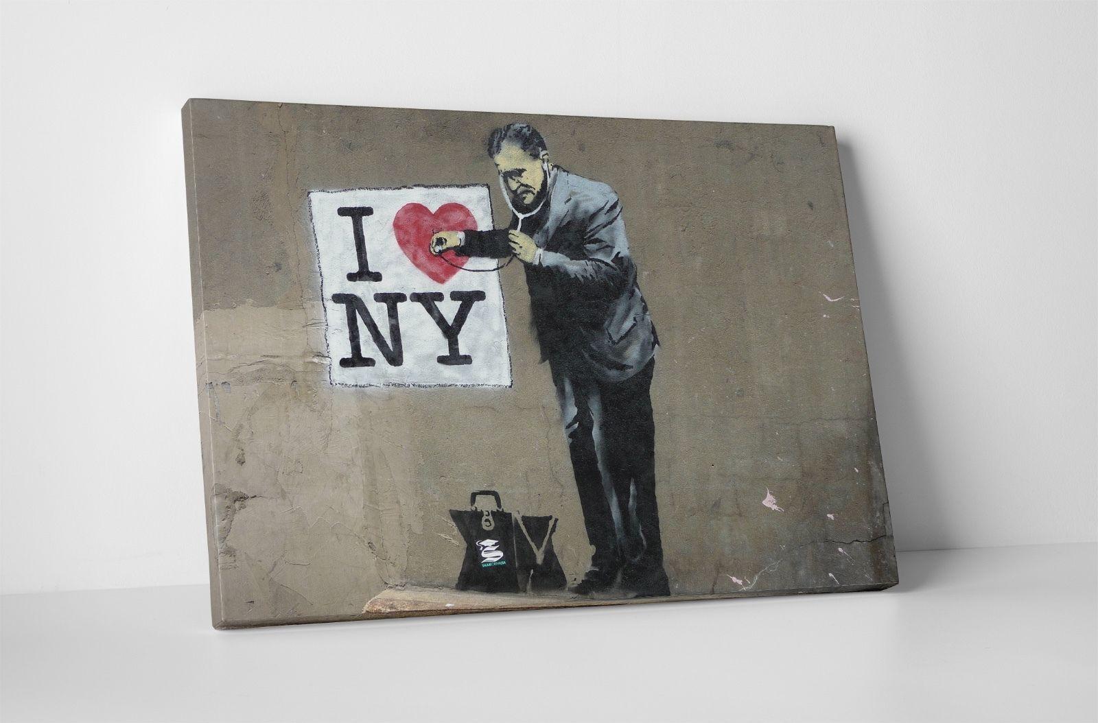 "BONUS WALL DECAL! Banksy Pissing Dog Stretched Canvas Triptych Print 48/""x30/"""