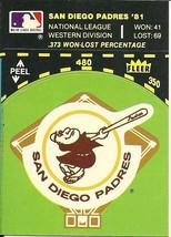 1982 Fleer Large Team Logo On Diamond 81 Record on Front Padres - $1.00